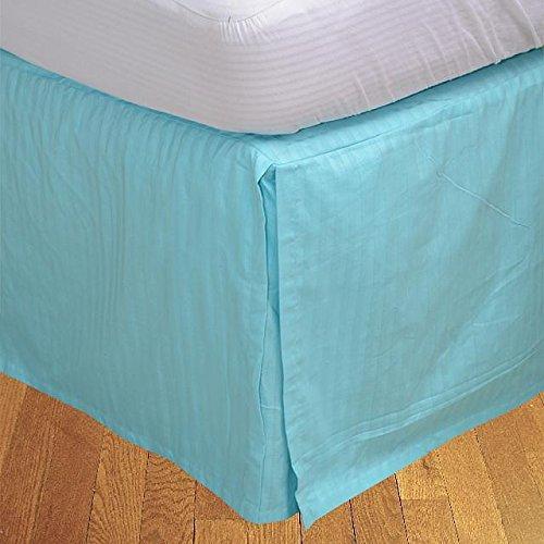 Finition élégante LaxLinens 550 fils 1 jupe plissée chute de lit Longueur    15 cm, bleu empereur Turquoise 100%  coton Bleu sarcelle