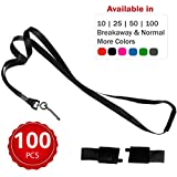 Durably Woven Lanyards with Safety Breakaway ~Premium Quality, Smoothly Finished for Skin-Friendly Comfort~ for Moms, Teachers, Tours, Events, Cruises & More (100 Pack, Black) by Stationery King