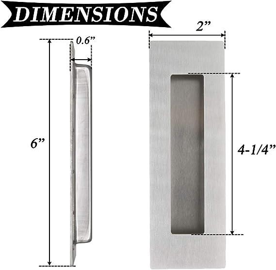 Rectangular Empotrada Puerta Corredera de mueble de cocina Tiradores Tiradores de dedo Flush 304 # acero inoxidable 6 cm de largo: Amazon.es: Bricolaje y herramientas
