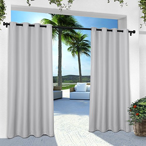 Exclusive Home Curtains Indoor/Outdoor Solid Cabana Grommet Top Window Curtain Panel Pair, Cloud Grey, 54x84 - Top Curtain Panel