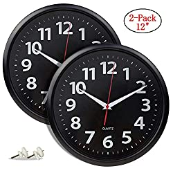 Artsay 2 Pack Wall Clocks 12 Inch Silent Non Ticking Battery Operated Analog Clock for Home Kitchen Office School, Black, Round