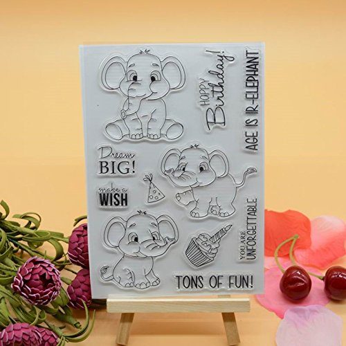 Welcome to Joyful Home 1pc Cute Elephant Birthday Clear Stamp for Card Making Decoration and (Acrylic Scrapbooking Tags)