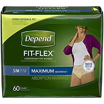 Depend FIT-FLEX Incontinence Underwear for Women Maximum Absorbency, Small/Medium (28-40 in. Waist), 60 Count, Disposable Absorbent Underwear for Adults, Packaging May Vary
