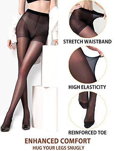 f3267c86a Vero Monte 2 Pairs Control Top Pantyhose 4 Women Semi Opaque Tights (Nude+ Black