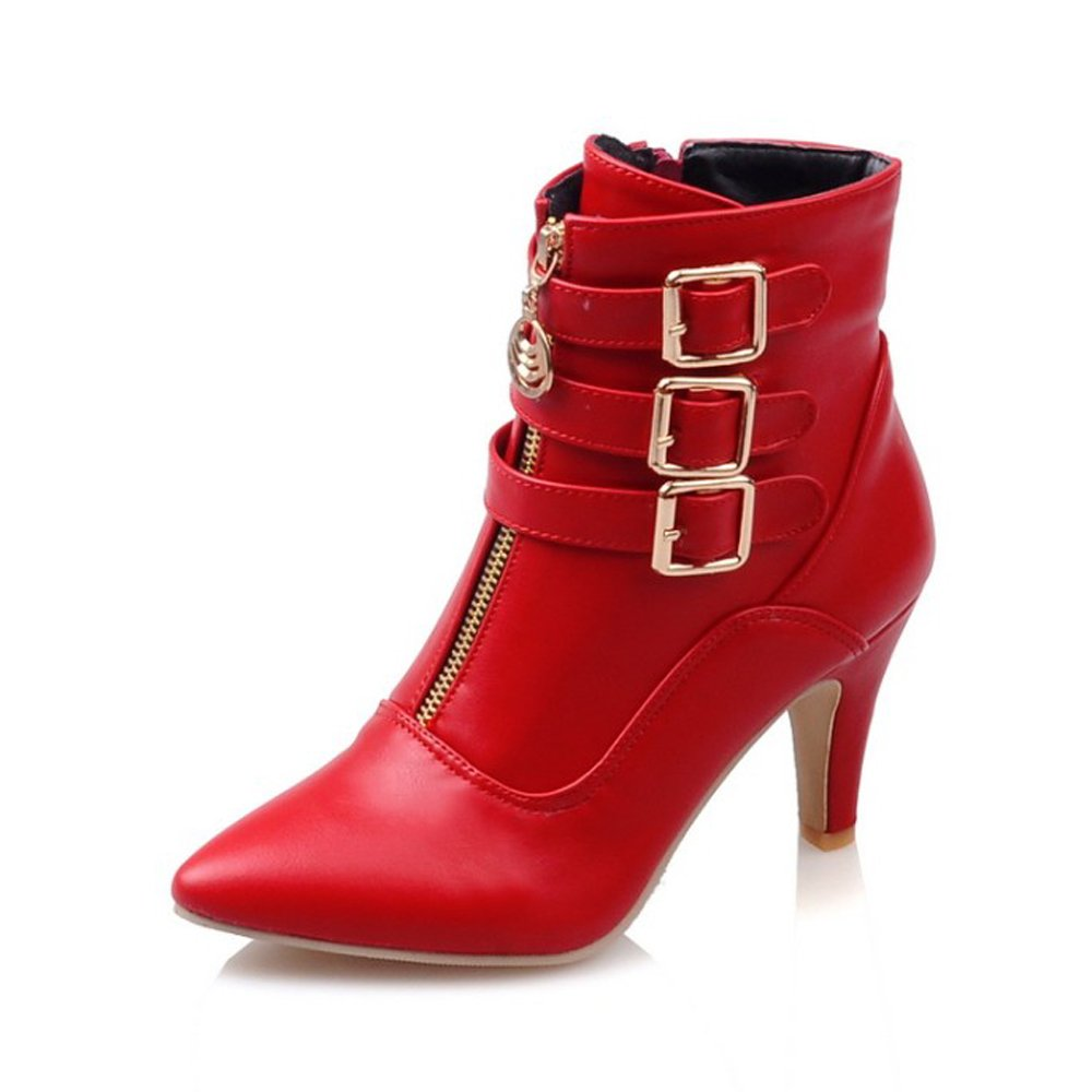 Meotina Women Ankle Boots High Heels Buckle Pointed Toe Shoes B077N6S31J 4.5 B(M) US|Red