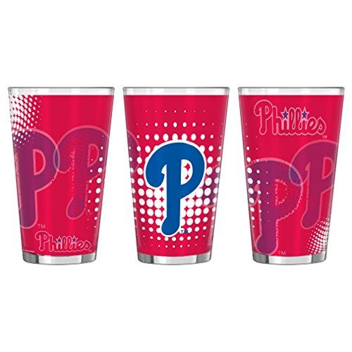 Boelter Philadelphia Phillies Glass - Philadelphia Phillies Halftones Sublimated Pint Glass 16oz