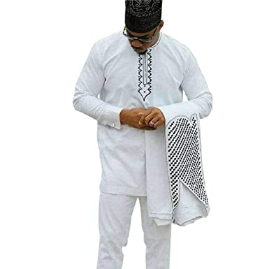 72cd2bb826 H D African Mens Clothing Fashion Agbada Outfit Kaftan Wear 3 Piece for Man  Long Sleeves