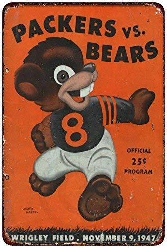 (Joeaney New Tin Sign Aluminum Retro 1947 Green Bay Packers Vs Chicago Bears Vintage Metal Sign 8 X 12 Inch )