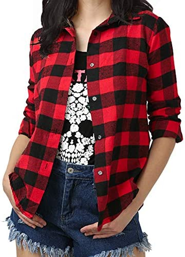 Womens Red Plaid Shirts Long Sleeve Boyfriend Check Shirts Shirt Blouses for Women Girls
