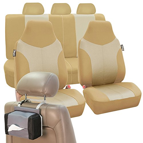 (FH Group FH-FB101115 Supreme Twill Fabric High Back Seat Covers Beige/Tan (Airbag Ready & Split) W. FH1133 E-Z Travel Car Tissue Dispenser Case-Fit Most Car, Truck, Suv, or Van)
