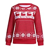 FANOUD Women Long Sleeve Tops Snowflake Print Pullover Circle Collar Tops