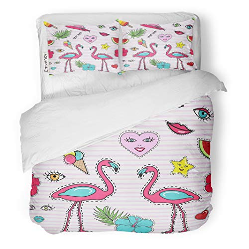 Semtomn Decor Duvet Cover Set King Size Patch Badge Pin Stitched on Pink Stripes Lips Heart 3 Piece Brushed Microfiber Fabric Print Bedding Set Cover -