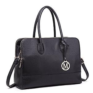 Miss Lulu Women Adjustable Designer Shoulder Handbags Ladies A4 Size Laptop Large Faux Leather Tote Bags (Black)