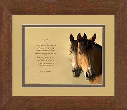 """Framed Personalized Granddaughter Gift with """"It has been such a pleasure watching you grow up and become this beautiful and amazing person you are. I am very proud of you and love you so much. It is a joy having you as my Granddaughter."""" Horses Photo 8x10 Double Matted. Special Birthday, Christmas Gift for Granddaughter."""
