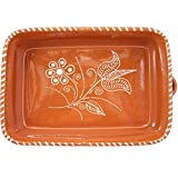 Vintage Portuguese Traditional Clay Terracotta Pottery Roasting Tray Made In Portugal (N.1 11 1/4 x 8 1/4 x 2 3/4'' Inches)