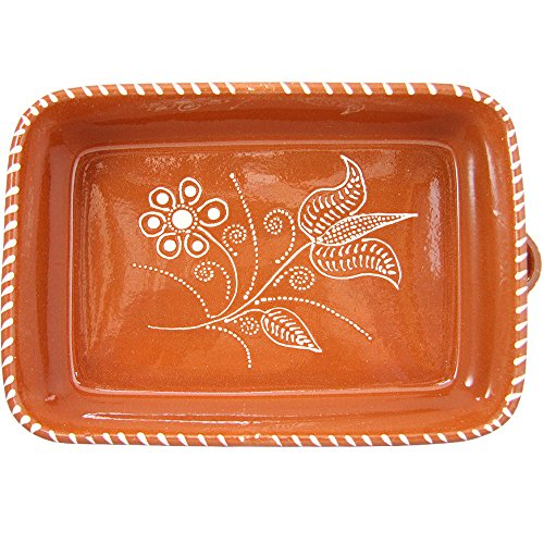 Vintage Portuguese Traditional Clay Terracotta Pottery Roasting Tray Made In Portugal (N.1 11 1/4 x 8 1/4 x 2 3/4