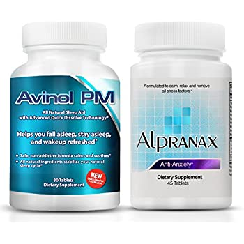 Avinol PM Bundle with Alpranax - Natural Sleep Aid with Melatonin and 5-HTP + Herbal Relaxation and Stress Relief Supplement - Reduce Stress and Get Deep ...