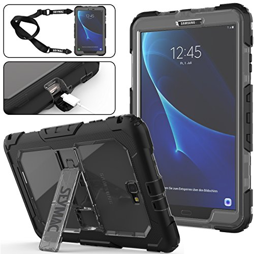 Galaxy Tab A 10.1 Case, Full-Body Heavy Duty Shockproof Case with Kickstand & Shoulder Strap [Hybrid Armor Protection] for Samsung 10.1 Inch Tablet SM-T580/T585 (Gray+Black)