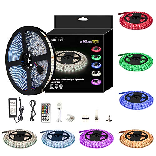 LED Light Strip Kit RGB LED Strip Waterproof SMD 5050 RGB 16.4Ft/5M 300 LEDs with 44Key Remote Controller and Power Supply for Holiday Party Home Garden Decoration Kicthen Bedroom Sitting -