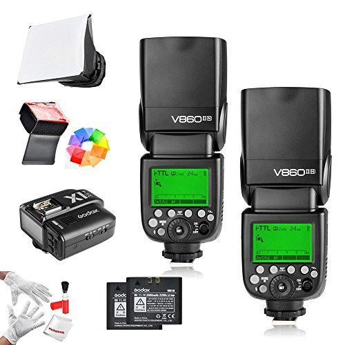 2Pcs Godox Ving V860IIN 2.4G GN60 I-TTL HSS 1/8000s Li-on Battery Camera Flash Speedlite with X1N Wireless Flash Trigger Features 1.5S Recycle Time 650 Ful Power Pops for Nikon DSLR Cameras by Godox