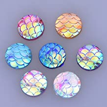 50pcs 10mm round fish scale resin glass cabochon,flat back,thickness 3mm,colour mixture