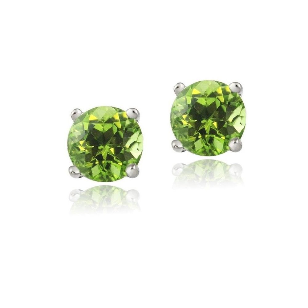 Silver Tone Brass 1.1Ct Peridot 5MM Stud Earrings