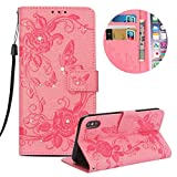 """Leather Case for iPhone XS Max 6.5"""" Butterfly Flower Pattern Girls Women Cover, MOIKY Luxury Glitter Sparkle Shiny Bling Rhinestone Magnetic Closure Wallet Pockets Credit Card Holder Flip Stand Cover Case For iPhone XS Max 6.5"""" - Pink"""