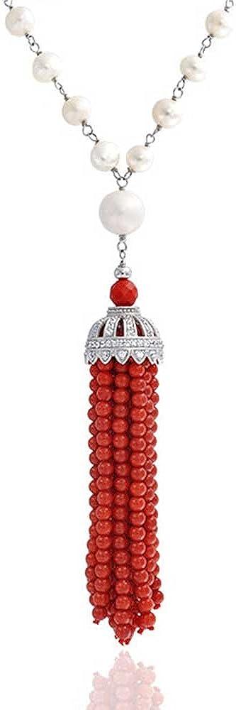 Pave Moda CZ Culturada Perla Teñidas De Rojo Coral Naranja Color Borla Collar De Plata Esterlina 925 Mujer De 27 Pulg.