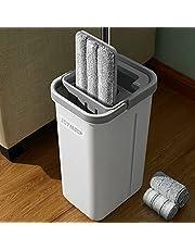 JOYMOOP Mop Bucket Set, Hands Free Squeeze, Floor Mop Bucket Cleaning System, Wet or Dry, Compact Flat Mop Bucket with 3 Washable Microfiber Mop Pads, Dual Chamber Bucket Design