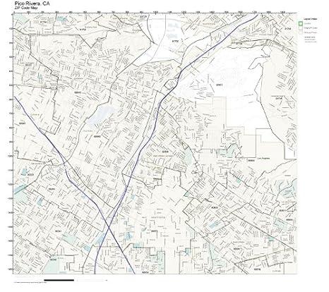 Pico Rivera Zip Code Map.Amazon Com Zip Code Wall Map Of Pico Rivera Ca Zip Code Map