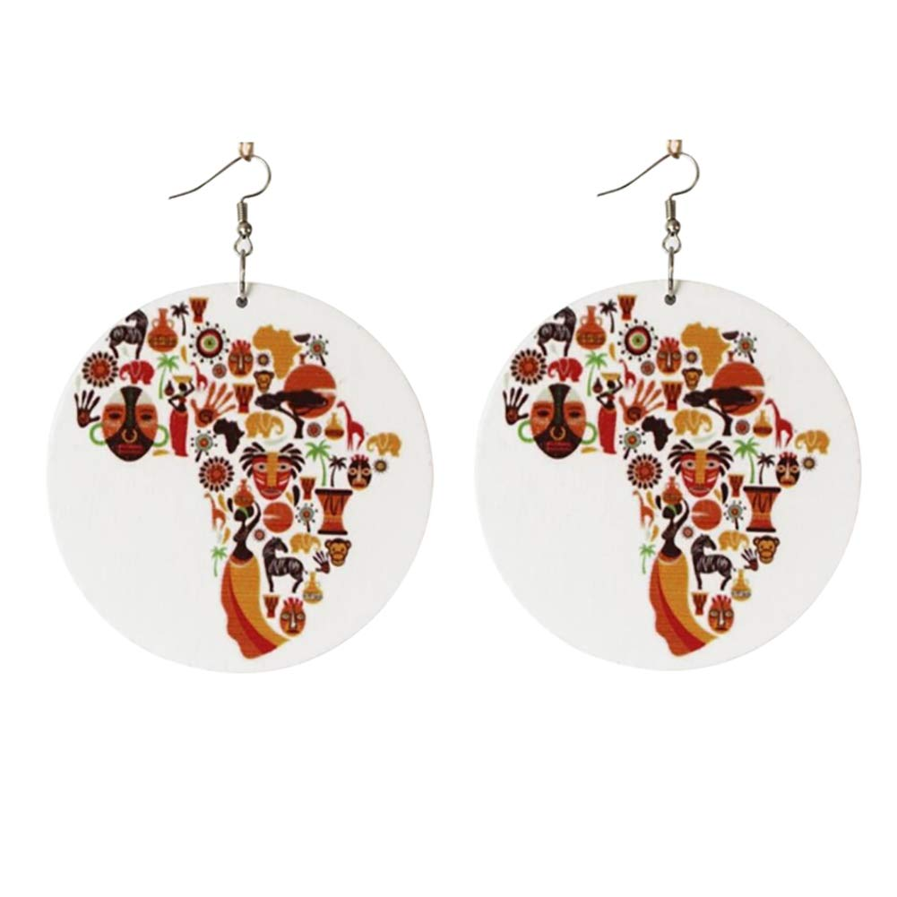 Colorful Women Wooden African Map Hook Earrings Round Pendant Jewelry Charm - White
