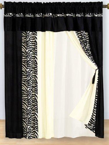 Zebra Black & White Micro Fur Window Curtain / Drape Set with panels/sheers/valance/tassels ()