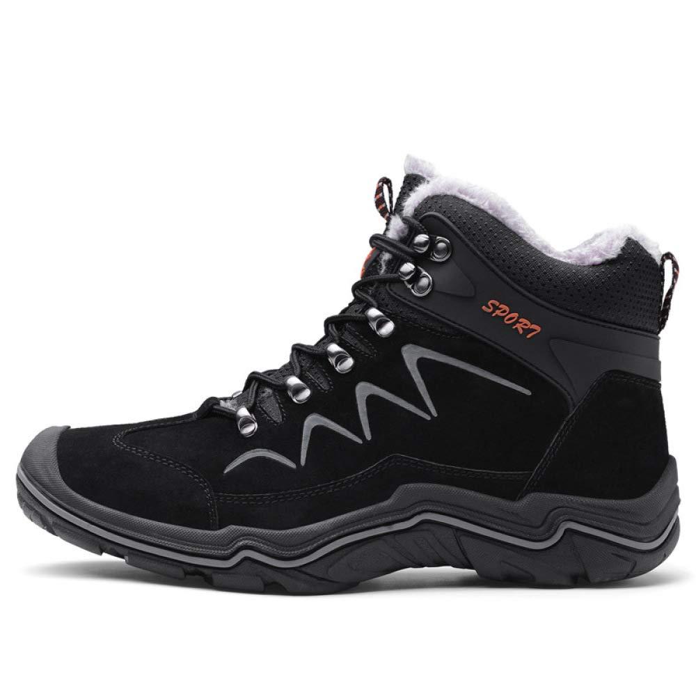 DZX Herren Stiefeletten Winter Schnee Warme Stiefel Wasserdichte Lace Up Rutschfeste Schneeschuhe, Für Wandern Und Klettern,schwarz-43
