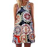 Keliay Dress for Women Summer,Vintage Boho Women Summer Sleeveless Beach Printed Short Mini Dress
