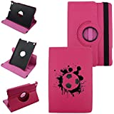 IPad Mini 1,2,3 SOCCER BALL, Leather Rotating Case 360 Degrees Multi-angle Vertical and Horizontal Stand with Strap (Hot Pink)