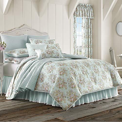 Five Queens Court Harper Floral Print 100% Cotton Fine Linen 4 Piece Comforter Set, Blue, King