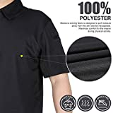 MIER Men's Outdoor Performance Tactical Polo Shirts Long and Short Sleeve, Moisture-Wicking, Black, L