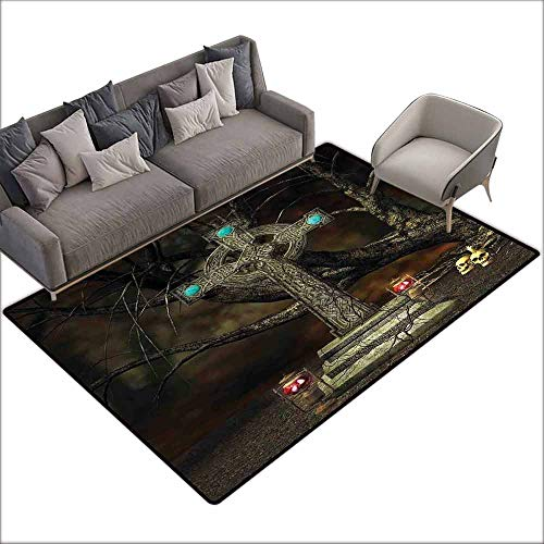 (Office Chair Floor Mat Foot Pad Gothic Decor,Gothic Cross Tree Grave Skulls Tombstone Lanterns Graveyard Night Art 80
