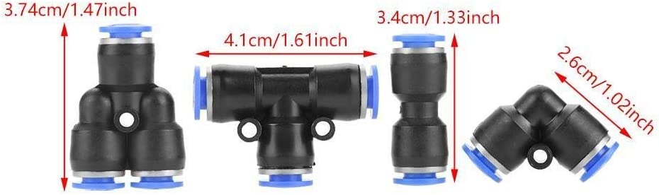KSTE Empuje 40pcs 6 mm Manguera de aire neum/ático conector de aire de empujar guarniciones r/ápida 4 Forma