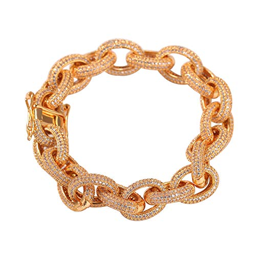 Men Hip Hop AAA Zircon Paved Bling Iced Out CZ Bracelets Cuban Miami Link Chain Charm Jewelry Gift,Gold,8inch ()