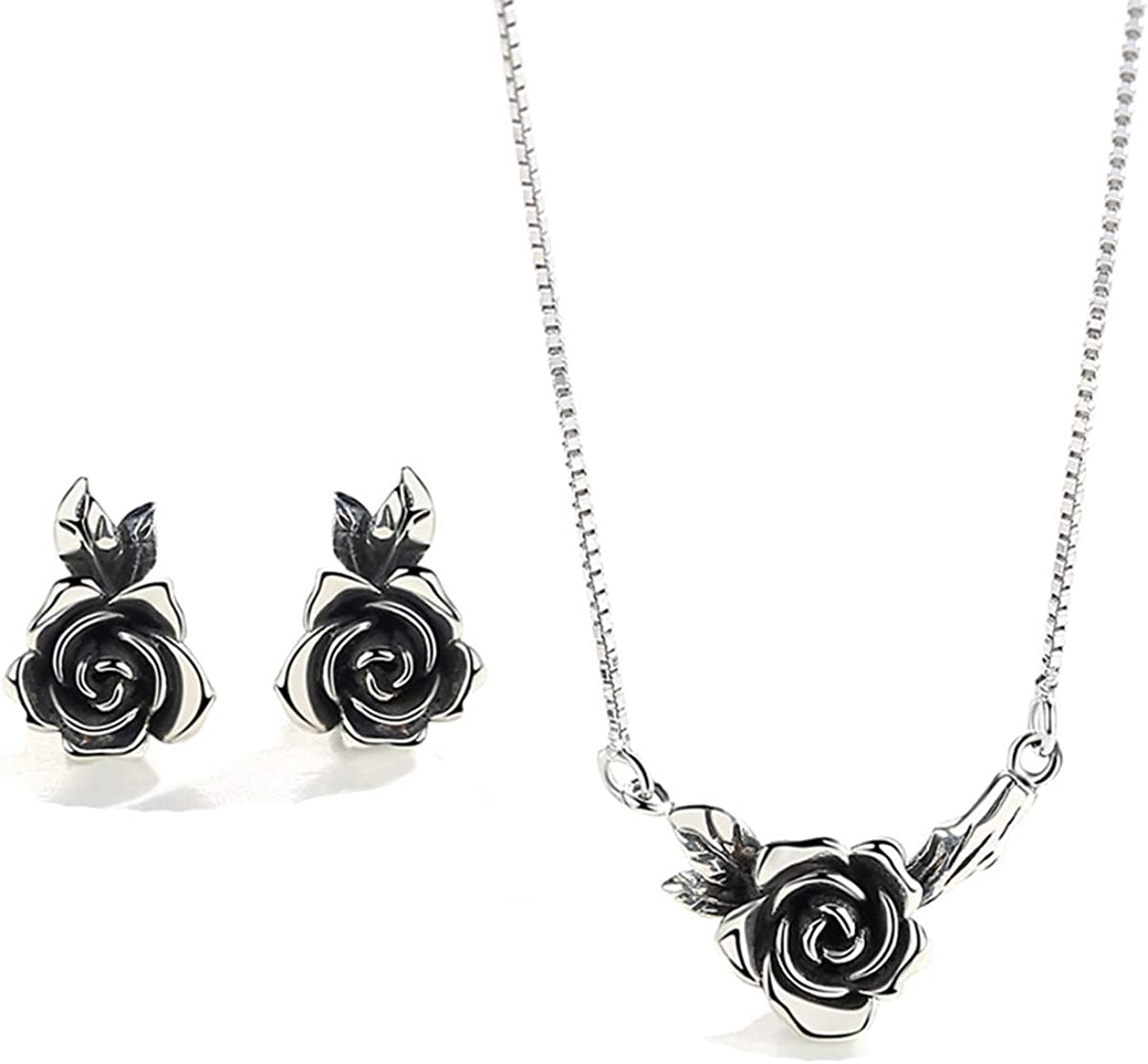 Onlyfo Retro 925 Silver Rose Flower Pendant Necklace Jewelry Box,Short Rose Necklace Women Antique Silver