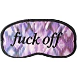 "Purple Patterned Novelty Eye Mask - "" Fuck Off "" Sleep Joke Blindfold Practical Joke Eyemask"