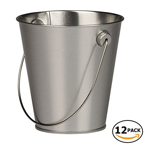 JAM Paper Colorful Metal Pails - Small - Silver - 12 Party Favor Buckets/Pack