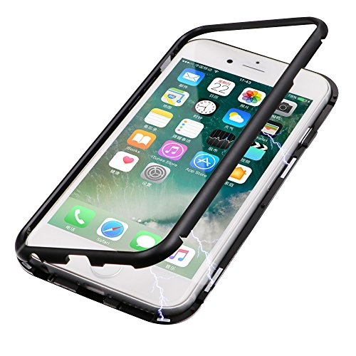 iPhone 7 Case, iPhone 8 Case, Diaxbest Ultra Slim Magnetic Adsorption Metal Case, Hard Clear Tempered Glass Back Cover Support Wireless Charging Compatible iPhone 7/8 (4.7 inch) (Clear Black)