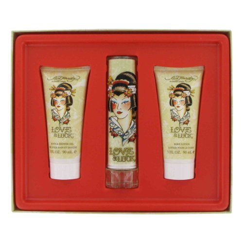 Love Luck by Christian Audigier Gift Set — 1.7 oz Eau De Parfum Spray 3 oz Body Lotion 3 oz Bath Shower Gel for Women