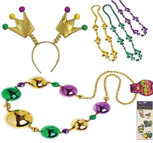 [Mardi Gras Crown Boppers Headband Jumbo Beads Party Accessory Costume Set Kit Bundle Head Wear Accessory Giant Beads Fleur de Lis Beads Necklaces Mardi Gras] (Jumbo Mardi Gras Beads)