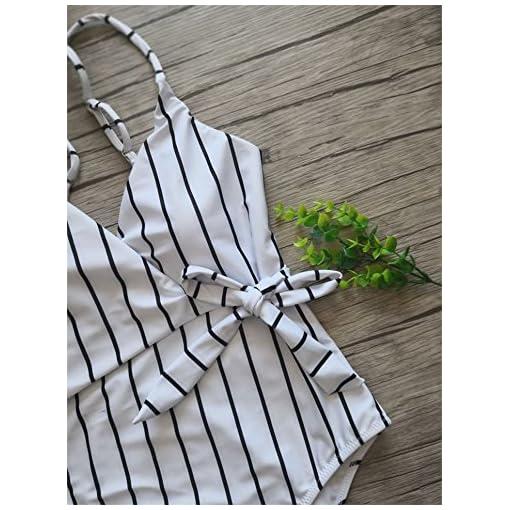 Fantastic Zone Womens Cute White Stripe One Piece Swimsuit Beach Swimwear Bathing Suit Bikini