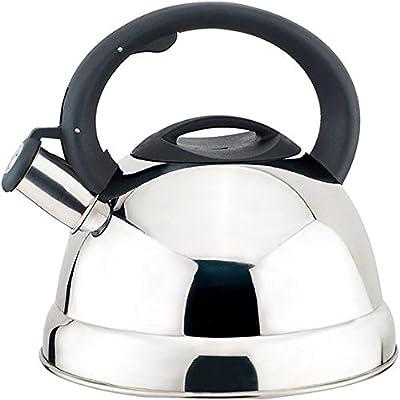 Home N Kitchenware Collection 2.8 Liter (3 Quart) Stainless Steel Whistling TeaKettle Teapot, Bakelite handle, Encapsulated Base 18/10 Stainless Steel Whistling Tea Kettle Pot, Chrome/Mirror Finish