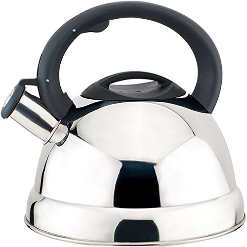 (Home N Kitchenware Collection 2.8 Liter (3 Quart) Stainless Steel Whistling TeaKettle Teapot, Bakelite handle, Encapsulated Base 18/10 Stainless Steel Whistling Tea Kettle Pot, Chrome/Mirror Finish)