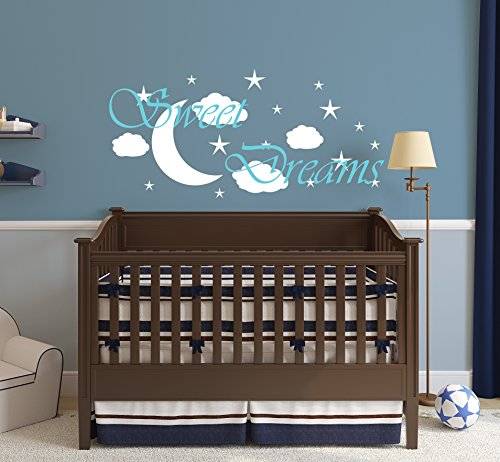 """Boys or Girl Nursery Wall Decal Sweet Dreams - Sweet Dreams Decal Nursery Decor - Nursery Decal Moon and Star Decals - Vinyl Wall Art Sticker Decal - Decor Wall Decal - Wall Decal - Perfect for a Gift (22 W"""" X 46 H"""") (053 - Light Blue, 25""""H x 53""""W)"""